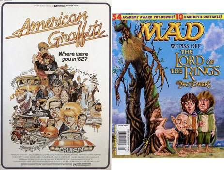 Mad magazine is cited by most artists as a primary reason cartoon-illustrated posters exploded in the 60s. Mort Drucker of Mad was even hired to create the one-sheet for American Graffiti. © MCA Universal (left).