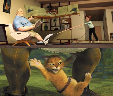 The Incredibles and Shrek 2 tied for favorite all-time animated features. © 2004 Disney Enterprises Inc./Pixar Animation Studios. All rights reserved; Courtesy of DreamWorks Pictures.