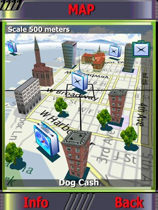 Another area of exploration is GPS technology. GeoUniverse Mobile, a treasure hunt game, features 3D maps and uses GPS data to incorporate the user's spatial location into the game play. Courtesy of TikGames.