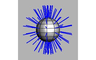 [Figure 2] The NURBs sphere with default point normals displayed.