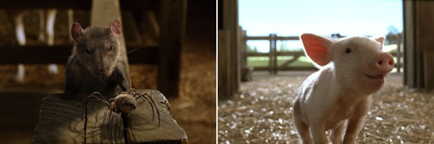 Five vfx houses created the effects in the live-action version of Charlottes Web. Tippett Studio was responsible for Templeton (left) and Wilbur. Courtesy of Tippett Studio. All images © 2006 Paramount Pictures. All rights reserved.