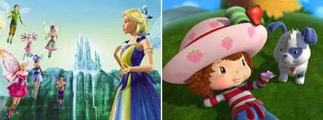 Barbie Fairytopia: Magic of the Rainbow (left) and Strawberry Shortcake: Berry Blossom Festival are new animated DVD releases derived from successful toy brands. © Universal Studios Home Ent. (left) and © Fox Home Ent.