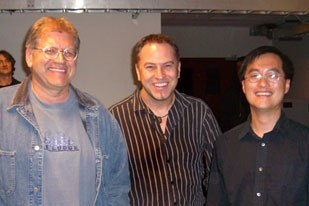 Robert Zemeckis (left) with Softimage's Kevin G. Clark (center) and Thomas Kang, co-instructs a new graduate-level performance-capture class at USC's School of Cinematic Arts. © 2007 Kevin G. Clark for Softimage, Co.