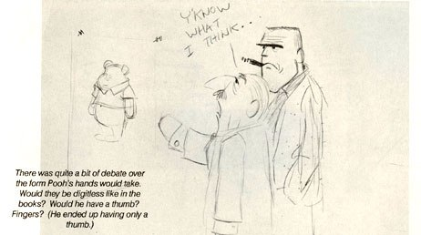 Floyd Norman's studio gag drawing shows Walt Disney debating how to imagine Pooh's hands. From Norman's FASTER! CHEAPER! published by Get Animated! Reproduced with permission.