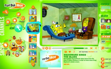 Nickelodeon upgraded its broadband video player at Nick.com. Turbonick 2.0 offers continuous video streaming, applications for content mash-ups, customized playlists and gaming. © Nickelodeon Digital Media.