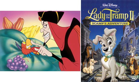 The Disney descent into sequel Hell began in 1994 with The Return of Jafar (left), but reached its deepest cantos of Hell with Lady and the Tramp II: Scamp's Adventure. © Disney.