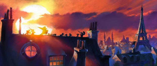 On Ratatouille, a lot of time was put into the environments, and the city of Paris was featured in several sequences. Credit: Dominique Louis (pastel). All Ratatouille images © Disney Enterprises Inc. and Pixar Animation Studio