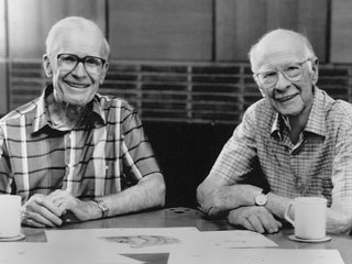 Frank Thomas and Ollie Johnston. Photo by Karen Quincy Loberg, courtesy of and © 1995 the Walt Disney Company. All Rights Reserved.