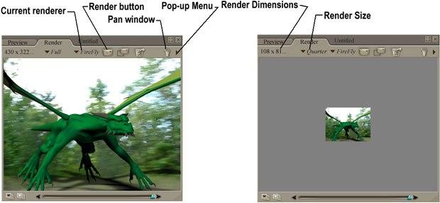 [Figure 1] Render panel (left). [Figure 2] Quarter sized render (right).