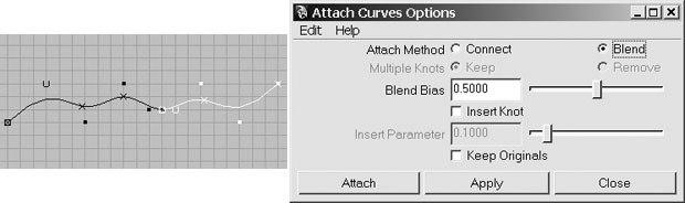 [Figure 4] Curve detached (l). [Figure 5] The Attach Curves Options window.