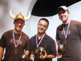 The winners of this year's FJORG! is Team Grojf: (l-r) Jacob Patrick, John Nguyen and Kevin Rucker. All images courtesy of SIGGRAPH.