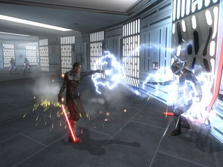 Force Unleashed is the best-looking Star Wars game ever. The force effects are incredibly dramatic. The Apprentice starts with a few force powers, but can soon perform force lightning and throw his light saber like a boomerang. © Lucas