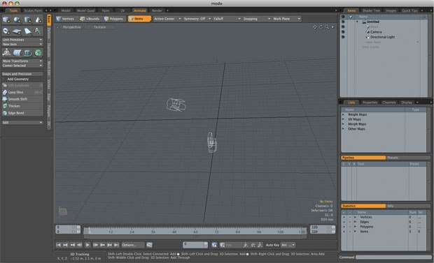 [Figure 1] To begin using the animation tools in modo 301/302, click the Animate tab at the top of the interface.