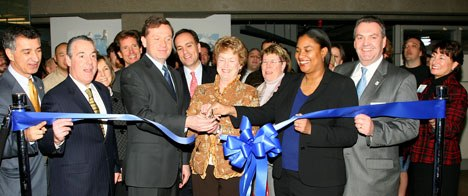 (L-R) CT State Reps. C. Leone, J. Berger, Blue Sky CEO B. Keane, CT Gov. M. Jodi Rell, V. Morrison, pres. of Fox Animation and CT State Rep. J. Amann cut the ribbon to open Blue Sky Studios' new Connecticut home. Images courtesy of 20th Century Fox.