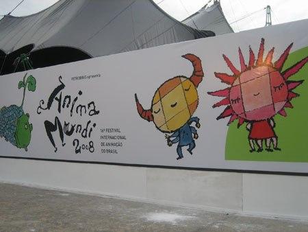The festival mascots designed by Koji Yamamura.