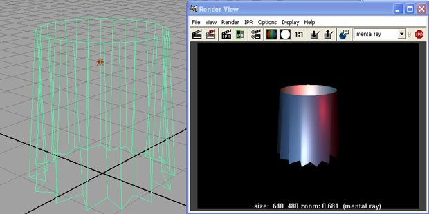 [Figure 1] Polygon skirt object and render with blinn shader for highlights.