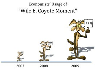 Economists and commentators are increasingly citing Wile E. Coyote to explain the macro economy, with Nobel-laureate Paul Krugman first hoisting the anvil in 2007. Cartoon image courtesy of Warner Bros. Animation. Graphs courtesy of Project X.