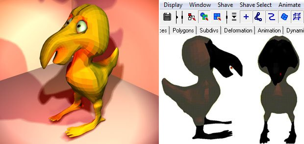 [Figures 1, 2, 3] The polygon bird model ready for hair (left). Shave and a Haircut's two menus are nestled among the Maya menus (top right). Two views of selected polygons shaded dark (bottom right). These polygons produce hair.