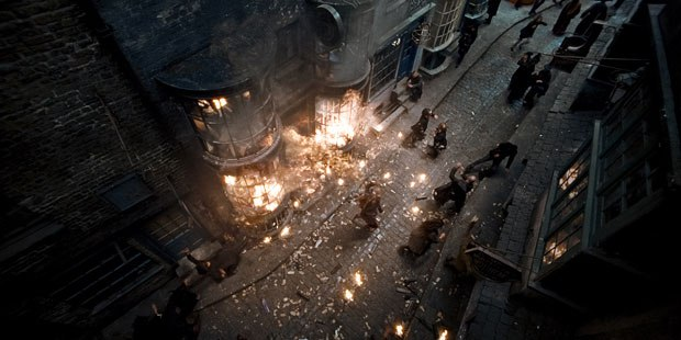 In the opening that was re-rendered by Double Negative for IMAX 3-D, Diagon Alley is attacked by the Death Eaters. All Images: © 2009 Warner Bros. Ent. Inc.