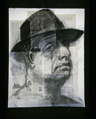 William Kentridge, Self-Portrait (Testing the Library), 1998; Charcoal on paper; 26 x 20 in. (66 x 51 cm); Collection of Brenda Potter and Michael Sandler; © 2008 William Kentridge; photo: courtesy Marian Goodman Gallery, New York.