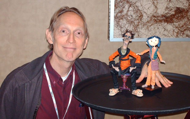 Henry Selick with his Coraline puppet creations.