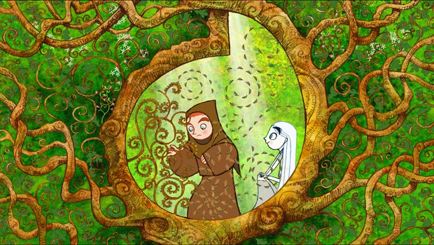 The Secret of Kells sports a colorful, flat design in keeping with the medieval setting. All images © Cartoon Saloon, Les Armateurs and Vivi Film.
