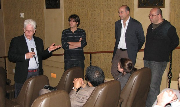 Ron Diamond leads the Q&A at ICM with The Lady and the Reaper's Javier Recio Gracia, Enrique Posner and Raul Garcia.