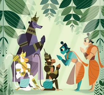 Sanjay Patel wanted to rediscover his roots and reach out to a broader audience with his illustrated retelling of the Ramayana. All images courtesy of Chronicle Books.