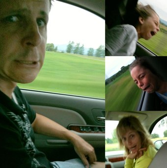 The Simon family driving on vacation. Clockwise from left, Mark, Reece, Luke and Jeanne expressing their feelings about driving 3,000 miles. All photos and artwork © 2010, Mark Simon.