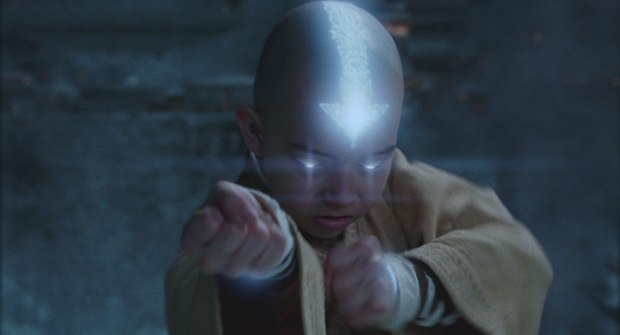 Aang takes on a supernatural aura before air bending, which looks smoky, ghostly and wispy. All images courtesy of Paramount Pictures.
