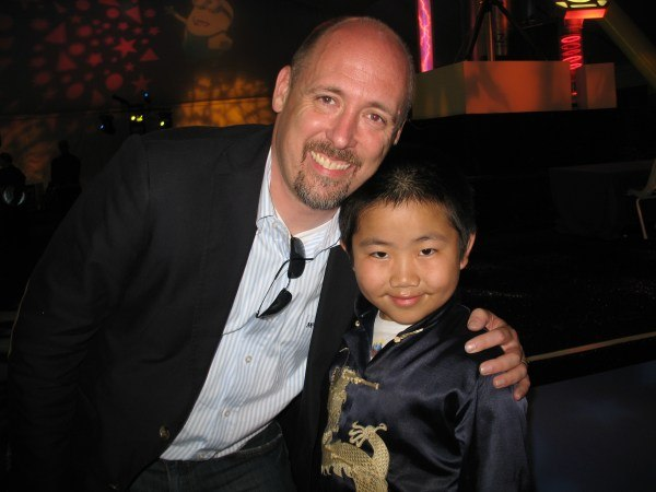 Perry with director Chris Renaud at the Despicable Me post-premiere party (photo by Zhu Shen).
