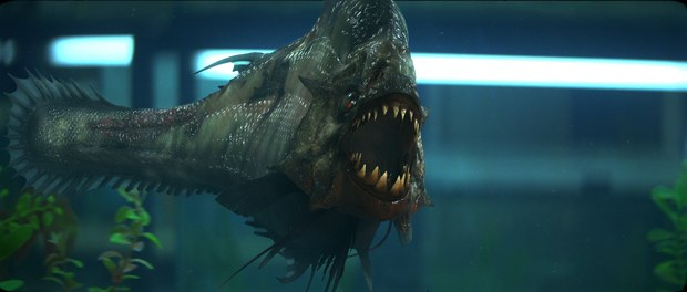 Neville Page designed a semi prehistoric-looking piranha and Flat Earth animated the hero fish. Images courtesy of Dimension Films.