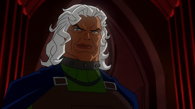 Asner reprises his role as Granny Goodness from Superman: The Animated Series and Justice League.