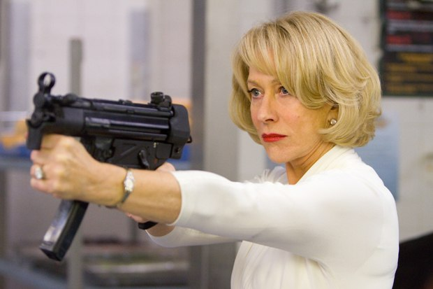The iconic image of Helen Mirren with a machine gun trumps all else. Images by Summit Ent.