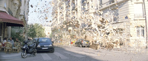 The Paris café explosion was the perfect harmony of visual and special effects. Images courtesy of Warner Bros. Pictures.