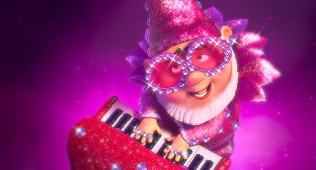Elton enjoyed being made into a glam gnome: the first gnomeosexual. Images courtesy of Touchstone Pictures.