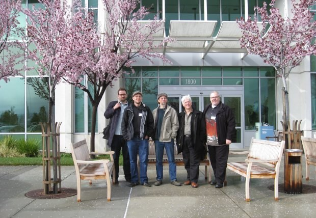 The group out front of PDI/DreamWorks. From left to right - Jakob Schuh, Max Lang, Geefwee Boedoe, Ron Diamond and Dan Sarto.