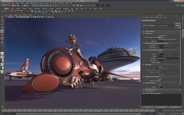 Viewport 2.0 in Maya 2012 now offers full-screen effects: motion blur, depth-of-field and ambient occlusion. Images courtesy of Autodesk.