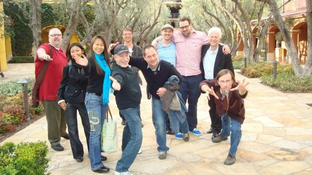 The entire assembled group. From left to right, me (Dan Sarto), Bastien's girlfriend Julie, Connie Siu, Bob Kurtz, Bastien Dubois, Ron Dyens, Max Lang, Jakob Schuh, Ron Diamond, Geefwee Boedoe. Everyone is quite animated because this was taken with a prototype 3-D stereoscopic camera. Image courtesy of DreamWorks Animation.