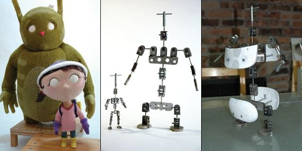 [Figure 3.34] Puppets for Ava, a film by Lucas Wareing. (l) [Figure 3.35] Ball-and-socket armatures for Ava and Charlie. (c) [Figure 3.36] Armature for Charlie, the monster. (r)