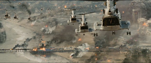 Cinesite provides background plate of Santa Monica, with CG helicopters and real smoke and fire elements along with CG smoke rings. Courtesy of Sony Pictures Digital Inc.