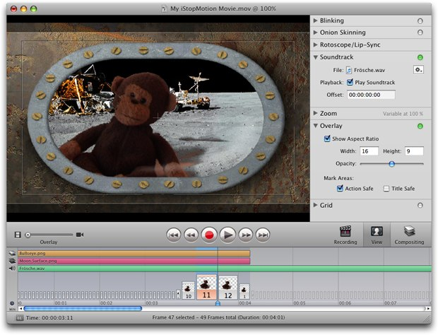 The most important feature of iStopMotion is the immediate feedback from the instant playback. Courtesy of Boinx Software.