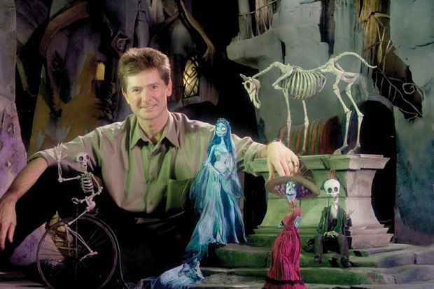 Pete Kozachik poses on the Land of the Dead set from Corpse Bride. (Photo by Simon Jacobs/ (c) Warner Brothers Pictures)