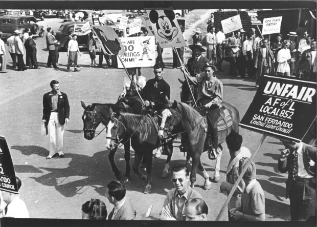 Babbitt, left, leading the Disney strike, summer 1941. All photos courtesy of Barbara Babbitt.