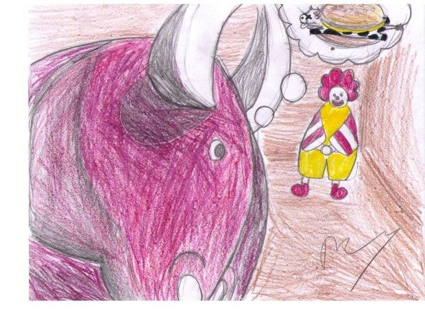 Guard Dog Global Jam Scene 41 Drawing - by Perry S. Chen (bull thinks of hamburger)
