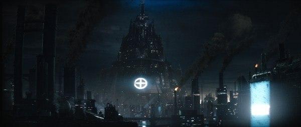 Svengali first built a city kit for the Blade Runner-inspired Orwellian environment. Courtesy of Screen Gems.