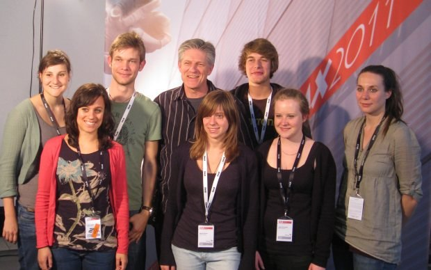 Bill with the Stuttgart Media University (HdM) students handling the video interviews.