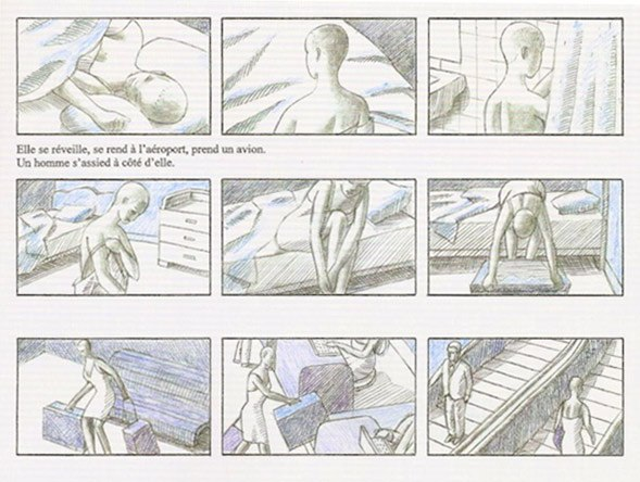 Storyboard page from Romance by Georges Schwizgebel. (Courtesy of Georges Schwiagebel.)