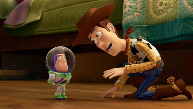 Woody tries to explain to Mini-Buzz that he isn't the real Buzz. All images courtesy of Pixar Animation Studios.