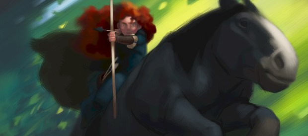 Merida rides in this concept art from Brave. Merida does not play major league baseball for the Atlanta Braves. All images courtesy of Pixar.